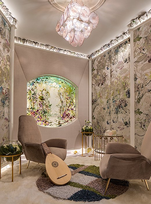 Jacqueline Hosford-Spring upholstered walls in a palette of pastels and created a window where there wasn't one using glass emblazoned with an impressionistic motif. Photo by Marco Ricca.