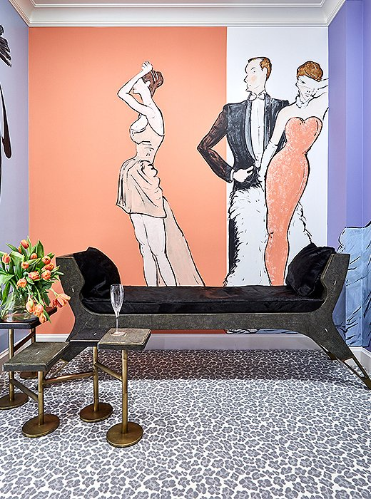 A dressing room by Rio Hamilton is as much a lesson in glamour as in color. Walls striped with lavender, peach, and cream are punctuated by portraits of dandies and debs dressed in white tie. Combine this with leopard-print carpet and you've got the kind of lively space that's almost too difficult to leave.