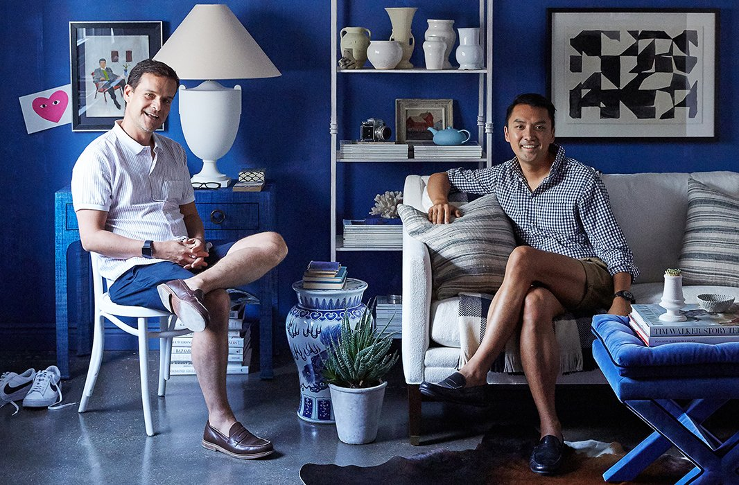 Photographer-stylist duo Ben Reynaert and Manuel Rodriguez fit right into their stylish, laid-back room.