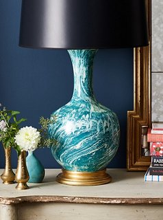 Perfect The Astor Couture Table Lamp Adds A Graphic Punch With Its Eye Catching  Marbleized Pattern