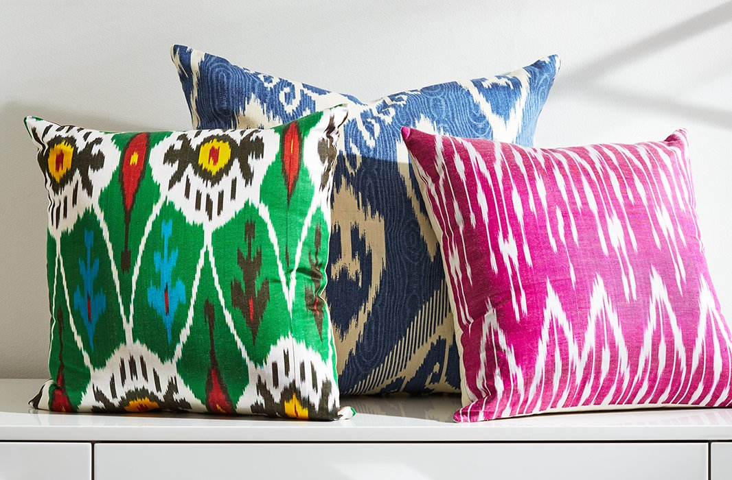 Ikat textiles come in a wide array of colors and designs, as shown by this lively trio.