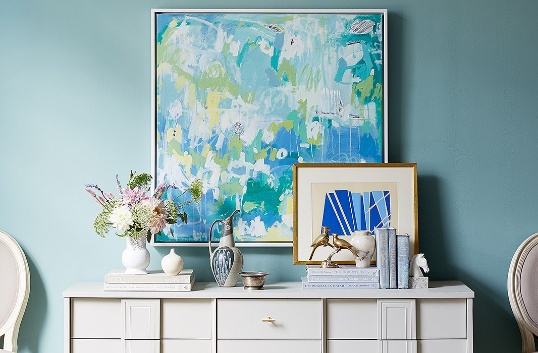 How to hang art above a console table How high should pictures be hung on wall