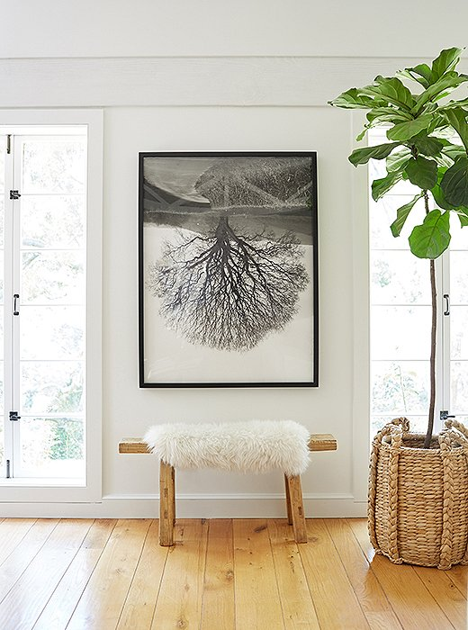 Sheepskin rugs can make even the most minimalist spaces feel like fall. Photo by David Tsay.