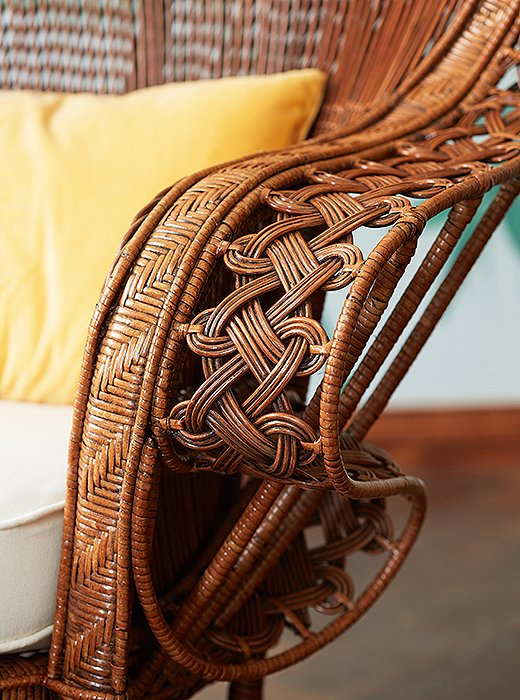Rattan is one of the strongest fibers used for wicker—but it's also highly flexible, as this chair's intricate knotted weave demonstrates.