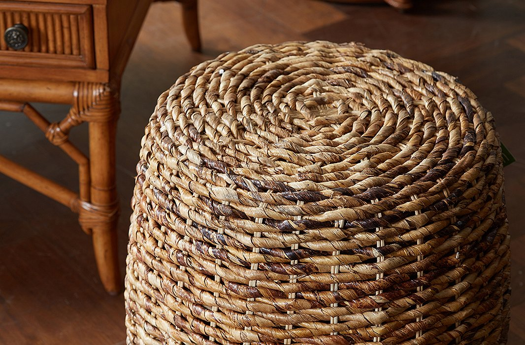 This petite wicker side table is made of abaca, a natural fiber so strong it has traditionally been used in rope making.