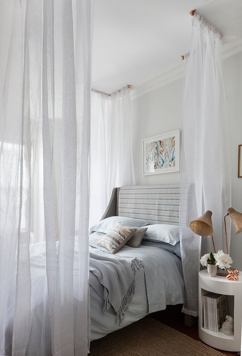 This simple DIY canopy is a quick and dramatic way to transform your bed  into a serene sanctuary. With some simple hardware and a few extra long  sheer ...