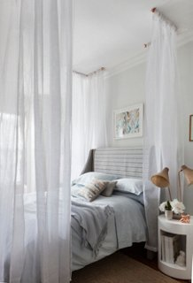 This simple DIY canopy is a quick and dramatic way to transform your bed into a serene sanctuary. With some simple hardware and a few extra long sheer ... & A Gorgeous Canopy Bed DIY