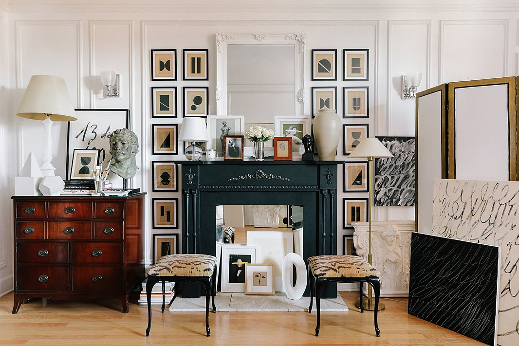 Josh's work arranged in his studio. You can see the palette and abstract shapes of his Bibliothèque collection perfectly complement the more traditional antique furnishings and portraiture.