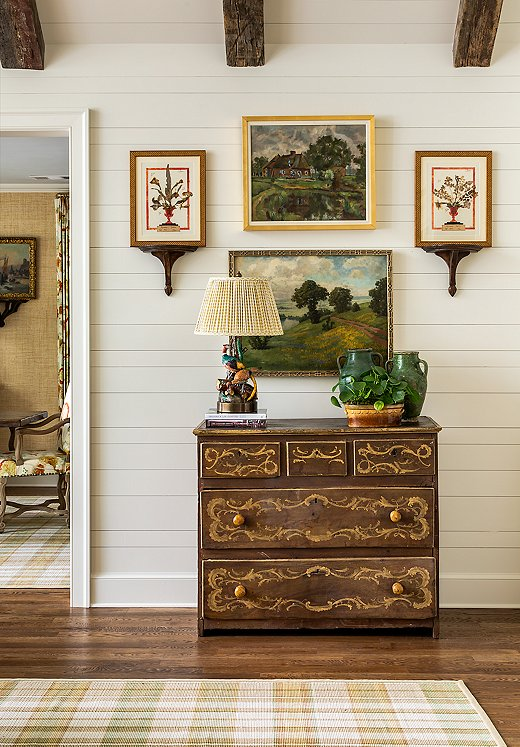 This vignette off the living room exemplifies James's love for antiques that feel totally fresh.