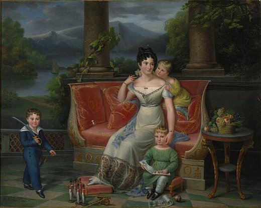 An Elegant Lady with Three Children on a Neoclassical Settee, on a Balcony, a 19th-century painting by Jenny Berger-Désoras.