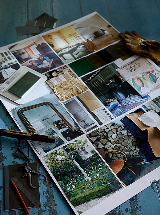 A mood board showcases Scott and Frank's vision for the property.