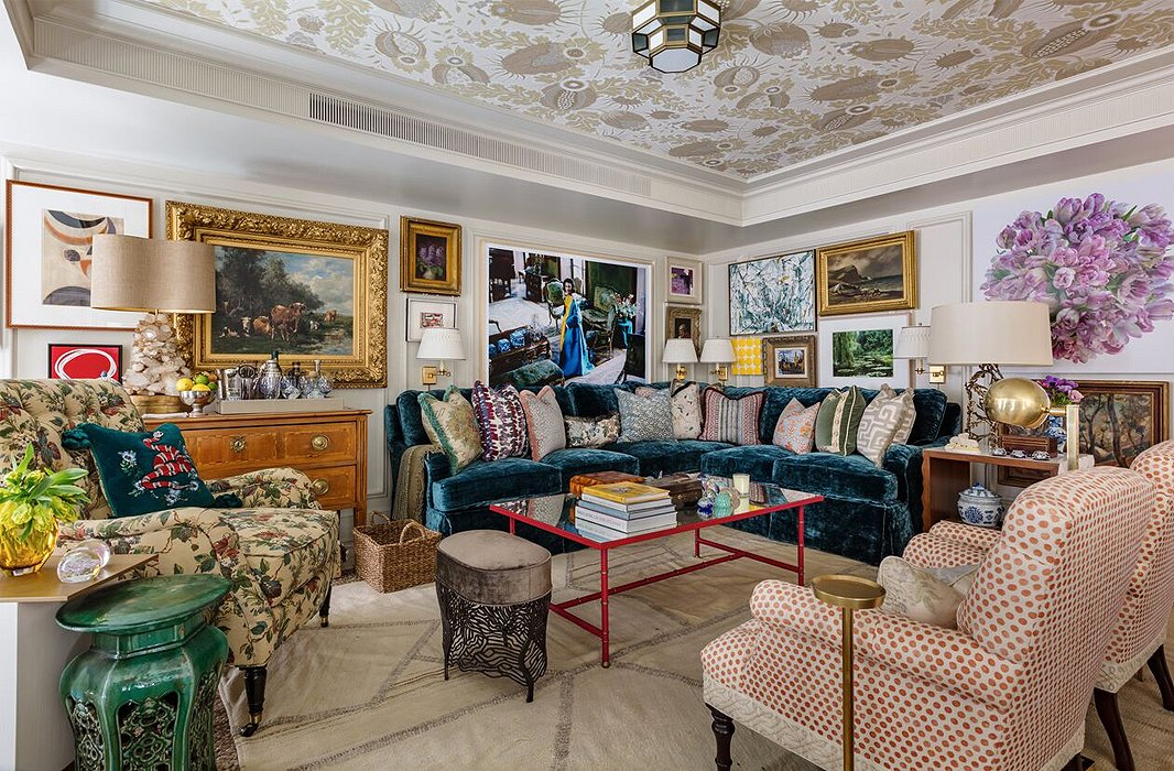 """A room should be filled with things you love,"" says Philip Mitchell in discussing his drawing-room design. Packed with collections of things old and new—art by today's darlings and yesterday's masters; shelves lined with far-flung treasures; vintage textiles on fresh upholstery—the space evokes a person with an eye for beauty and a magpie mind."
