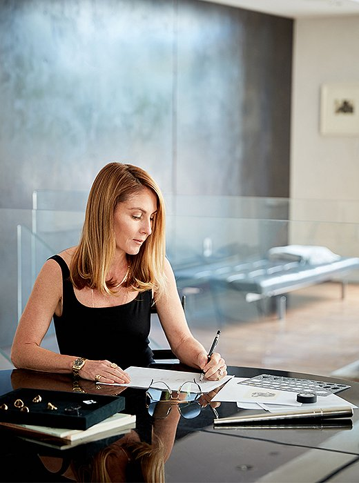 Jewelry designer Kim Dunham at home in New York City.