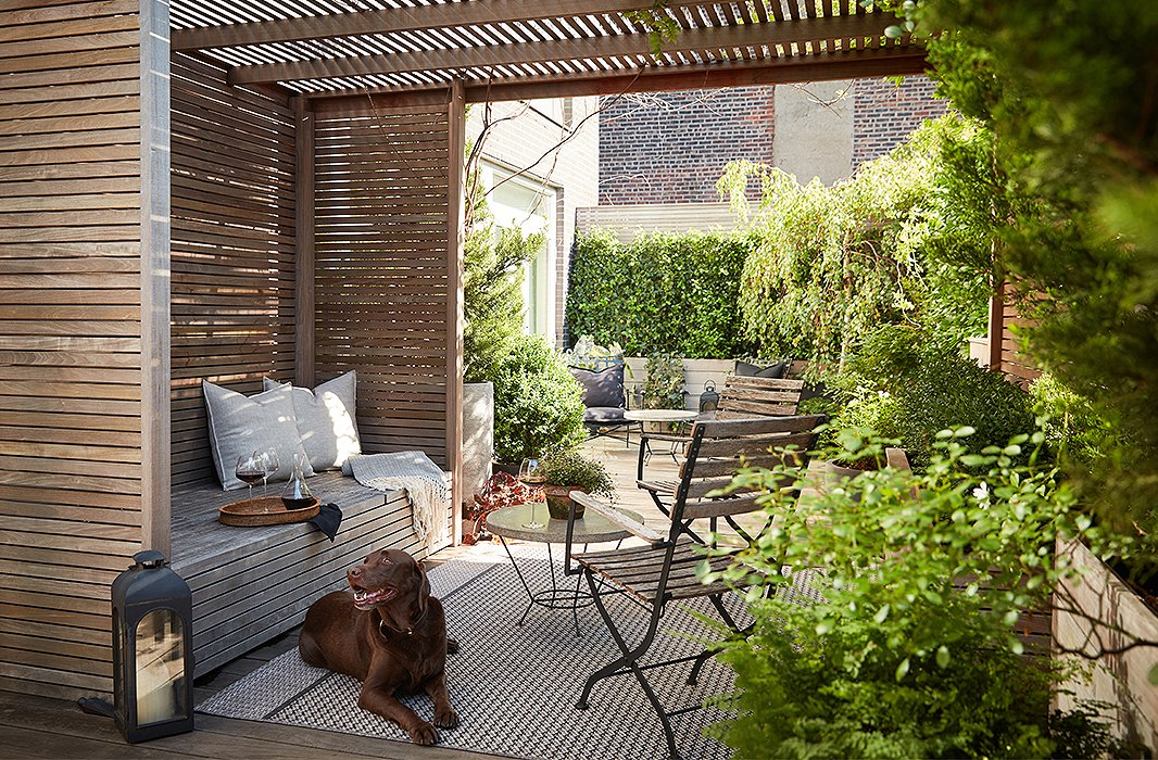 "Brutus lounges on the terrace, which is divided into zones for entertaining as well as for more-private moments. ""It was a combined vision between myself and some friends [Kathryn Kekona and Ty Tan] who helped me select plants and position everything,"" says Kim."