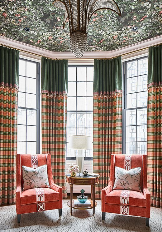 Corey decorated the library for the 2019 Kips Bay Decorator Show House in New York. A Valentino gown inspired the curtains.