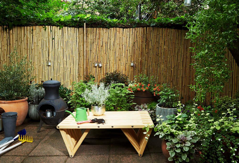 """""""Having a great outdoor space is new for us,"""" Day says. """"Arthur loves to be outside all the time now, and he loves watering the plants. He and my husband are very ritualistic about watering the plants."""""""