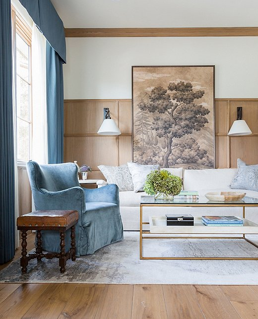 You'll find a variety of upholstered furniture in a very similar blue velvet here. Design by Marie Flanigan; photo by Julie Soefer.