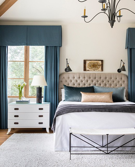 Moodier tones abound in the master bedroom. Sapphire hews to Marie's plan for jewel tones but does so with restraint.