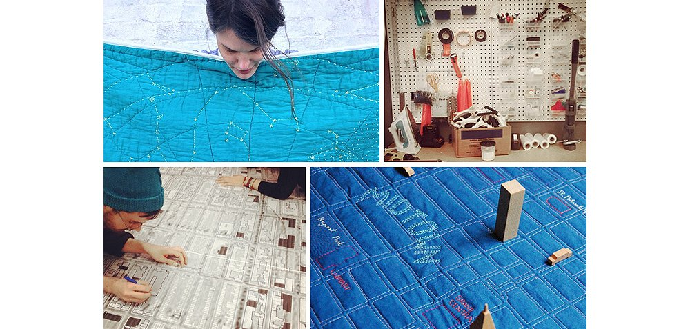 "Clockwise from top left: Emily holding up her Constellation Quilt. A peg board in her studio, ready with sewing tools and spools of thread—""I go through three spools, or 600 yards, of thread for one map quilt,"" says Emily. A quilted map of Manhattan. Busy hands tracing a to-scale map in the Haptic Lab studio."