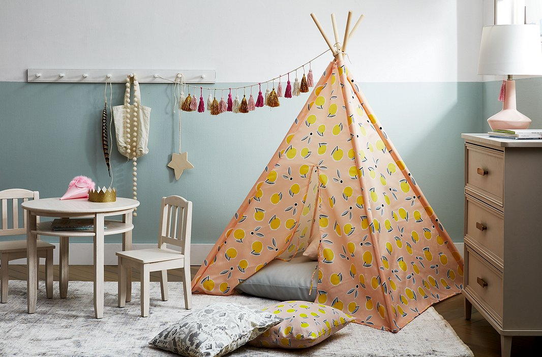 While the little ones will eventually outgrow the teepee and the Kingsley table and chairs, the dresser can stay with them even through the teen years.