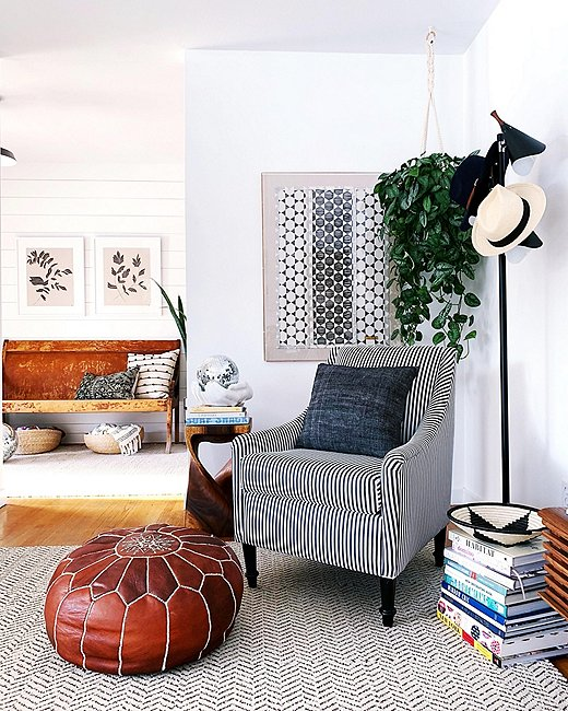 """Blogger Megan Schlachtenhaufer of Undecorated Home says her striped Palette chair is """"my new fave because I custom-designed it!"""" Photo courtesy ofMegan Schlachtenhaufen."""