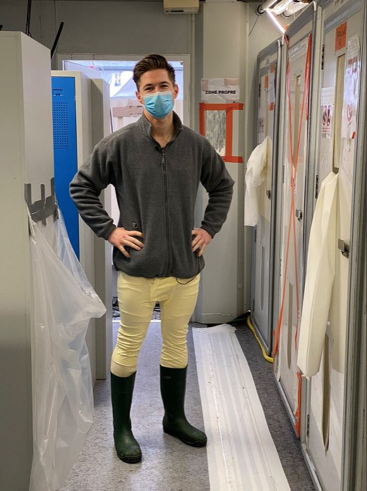 James Longman before he enters into the first stage of the required decontamination process.