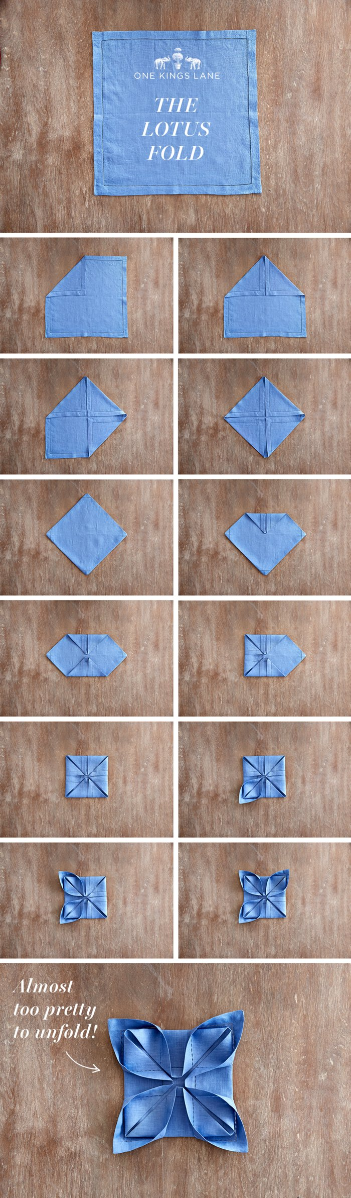 Lotus Napkin Fold Easy :  to Nailing 3 Hot Napkin Folds – One Kings Lane — Our Style Blog