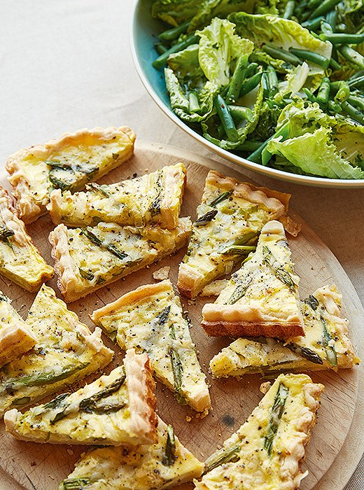 Asparagus-and-leek quiche is a quick and easy light bite.
