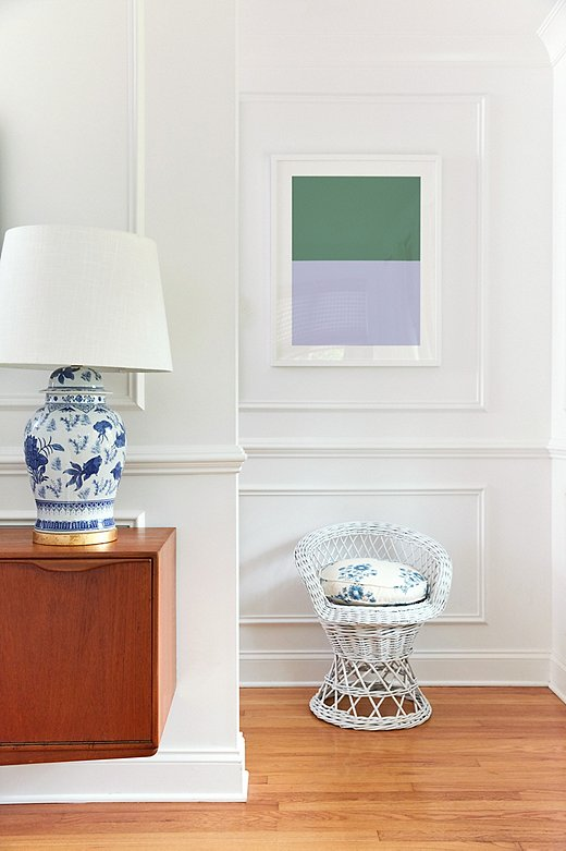 Color Study I adds a pop of color against an all-white wall.