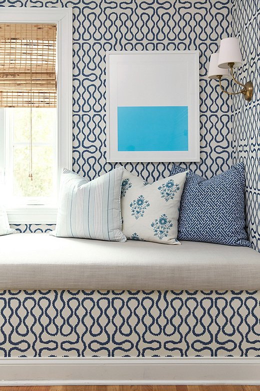 The striking contrast of Color Study XX feels right at home amid a handful of coordinating blue-and-white patterns.