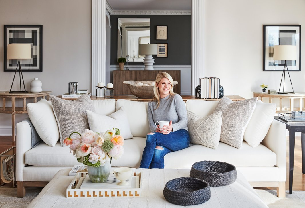 One Kings Lane Interior Design client Emily Garrett at home in Connecticut.