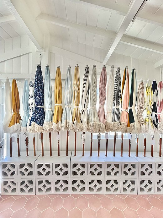 Umbrellas ready for visitors at Business & Pleasure Co.'s Beach House. Photo by Matthew Caulfield.