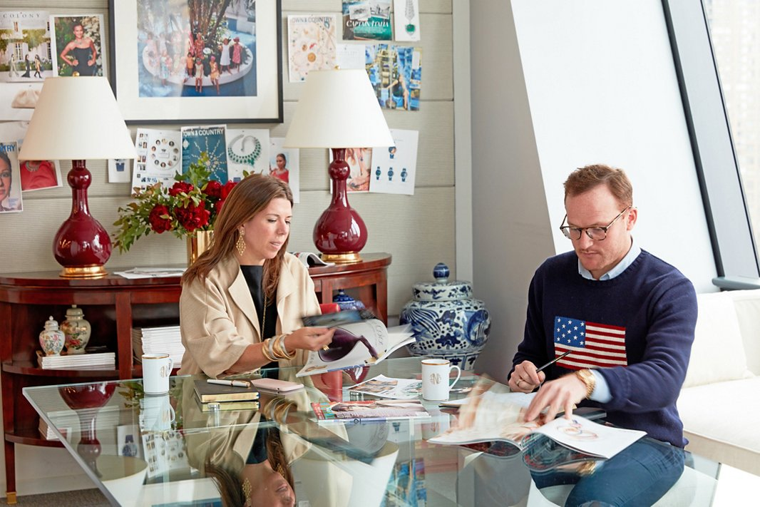 """Stellene works with fashion and accessories director Will Kahn in the conference room, whose new look has earned it a cheeky nickname. """"When we want to designate that we're meeting in there, we say, 'Let's meet in the Pretty Room,'"""" Stellene says."""
