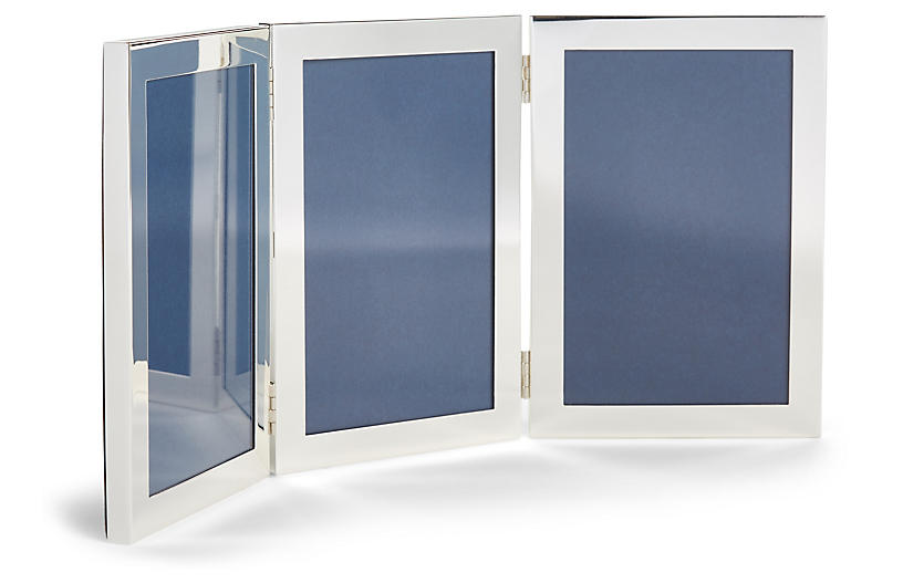 4x6 Cavour Triple Picture Frame, Silver