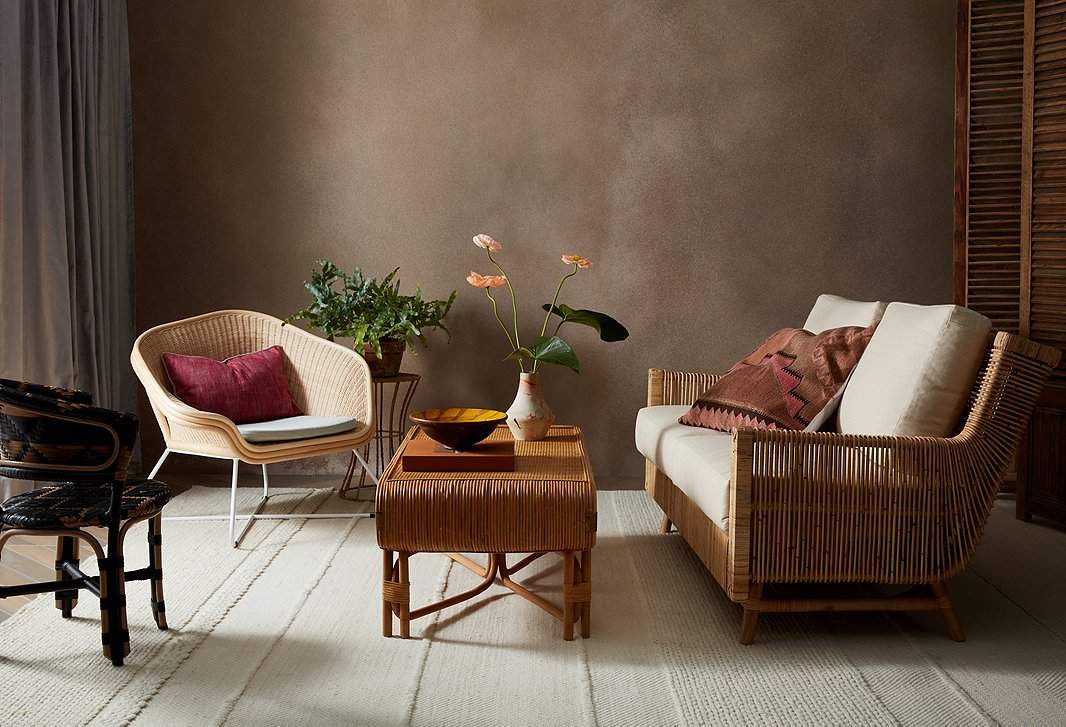 Selamat is another brand that uses sustainable rattan in unexpected ways, as seen in the Calistoga loveseat above.