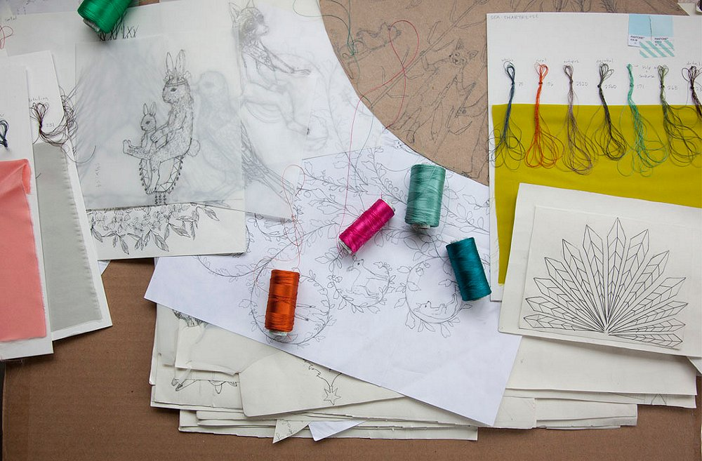 """""""Every new design starts out as one of my drawings,"""" says Housley. """"It's pencil on paper every time. No color at all. Then once it's complete, I'll figure out the color placement."""""""