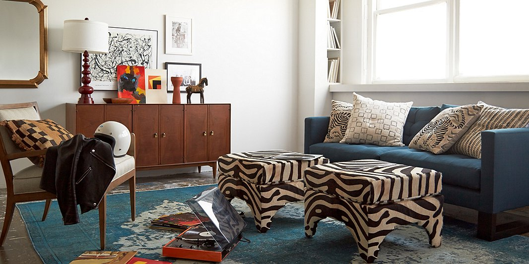 Sometimes two ottomans are better than one. They're also a great way to introduce pattern or an accent color into a room.