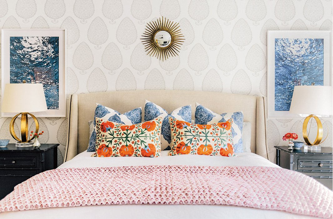 Folded at the foot of the bed, a block-printed coverlet adds an extra dose of pattern to this global-inspired bedroom. Photo by Max Burkhalter.
