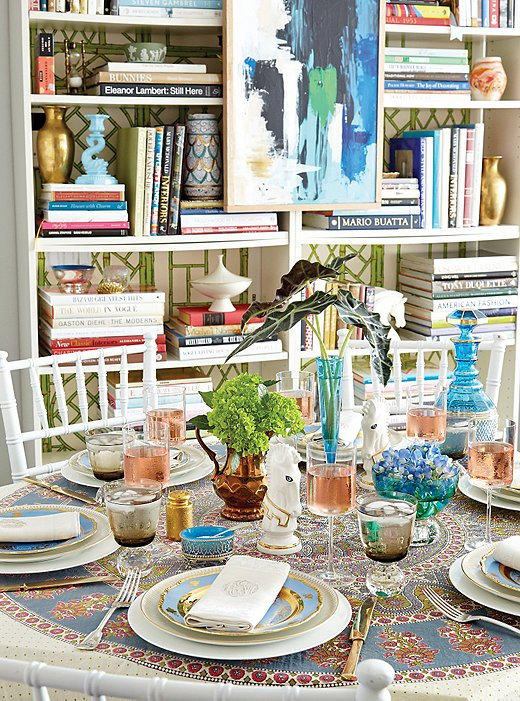 For a lunch in his apartment, Eddie conjured up a British raj vibe without being overt by adding pieces with provenance: an Indian textile as tablecloth, English lusterware plates, and monogrammed napkins.