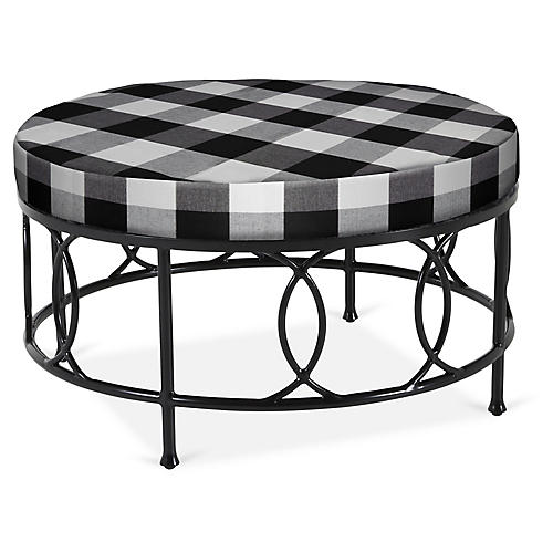 Frances Round Cocktail Ottoman, Gingham
