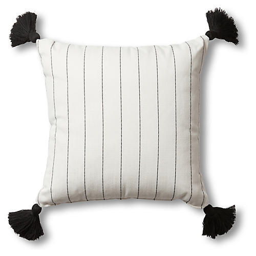 Frances Outdoor Tassel Pillow, White/Multi