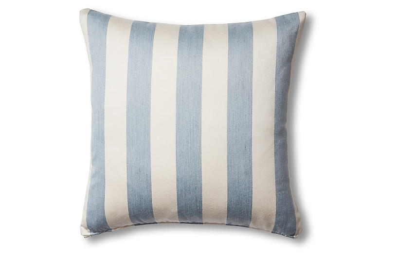 Harper Outdoor Pillow, Chambray/Ivory