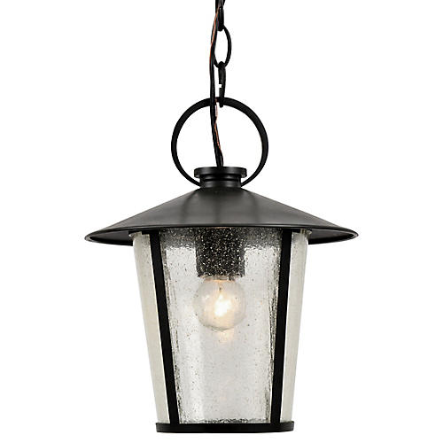 Andover Outdoor Chandelier, Matte Black