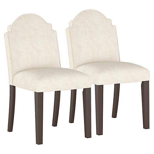 S/2 Elloree Side Chairs, Talc