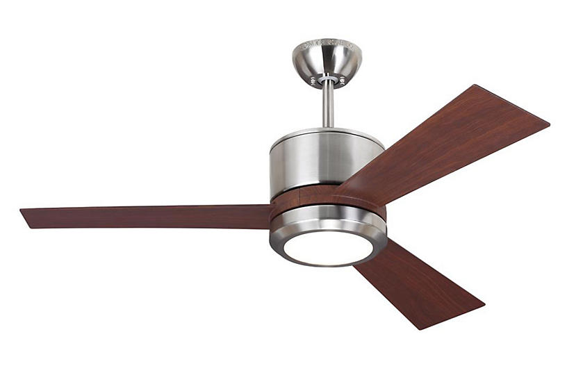 Vision II Ceiling Fan, Walnut/Steel