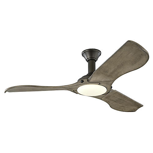 Minimalist Ceiling Fan, Weathered Oak/Pewter
