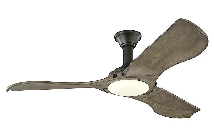 Minimalist Ceiling Fan, Weathered Oak/Pewter