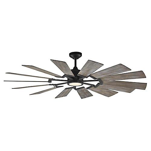 Prairie Ceiling Fan, Weathered Oak/Pewter