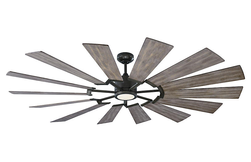 Prairie Grand Ceiling Fan, Aged Pewter