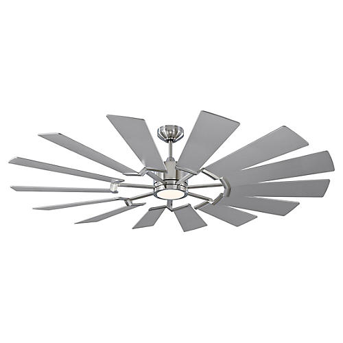 Prairie Ceiling Fan, Brushed Steel